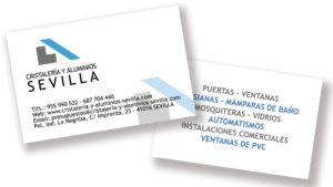CRISTALERÍA Y ALUMINIOS SEVILLA - Tarjetas
