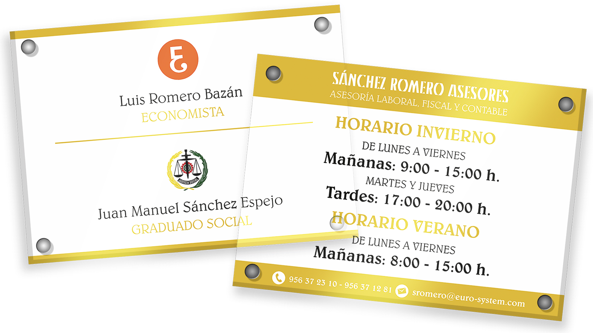 SÁNCHEZ ROMERO ASESORES - Placas de Metacrilato A3